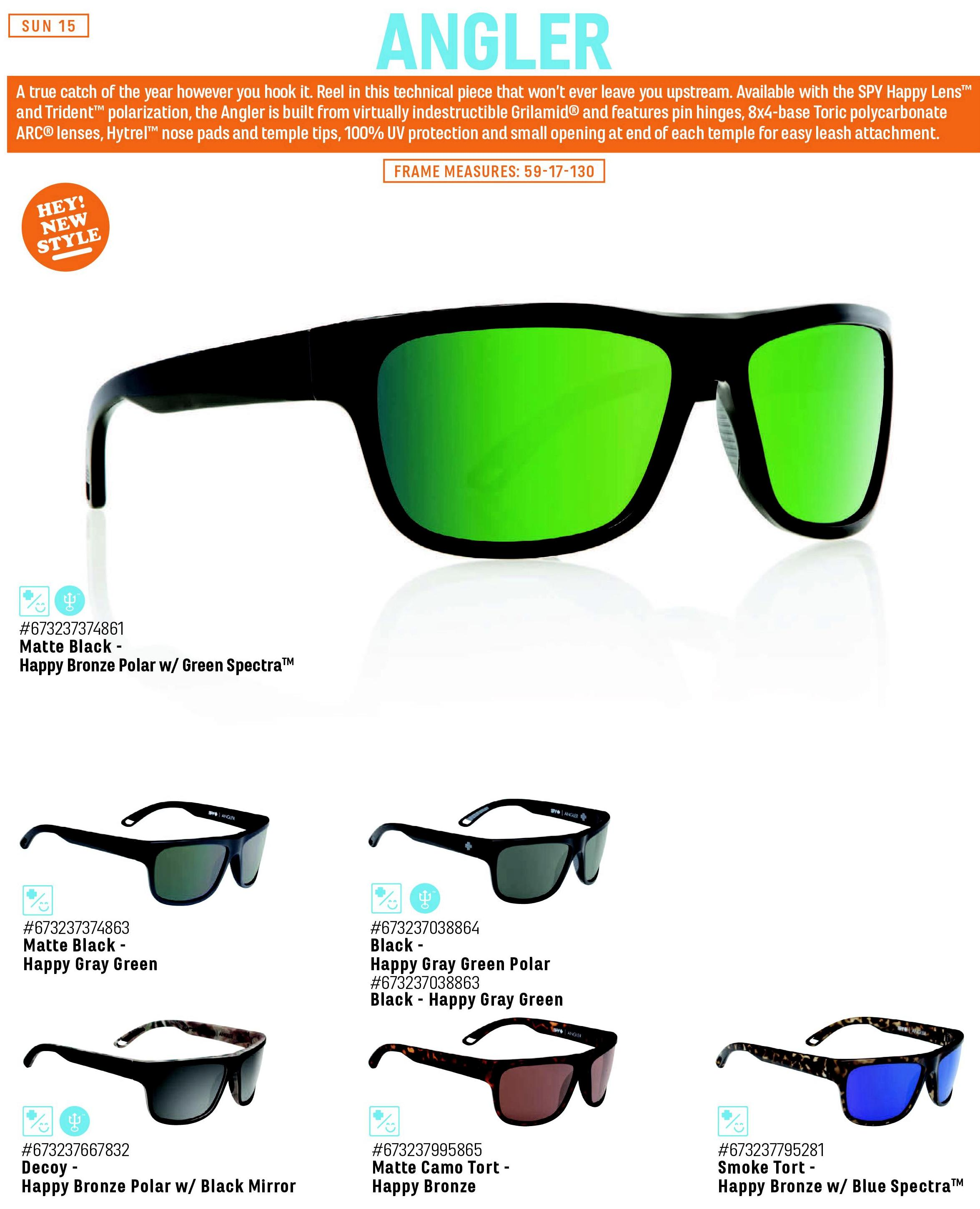 05aed5f500a Spy Angler Matte Black - Happy Bronze Polarized w Green Spectra